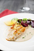 Turkey escalope with a creamy white wine sauce and beetroot
