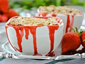 Strawberry & vanilla crumble with white chocolate mousse