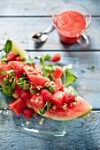 Watermelon salad wtih raspberries and hazelnuts