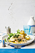 Baked hake fillets with salsa verde