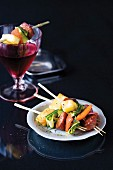 Chorizo and halloumi kebabs