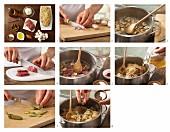 Sauerkrauteintopf mit Rindfleisch, Pilzen und Essiggurken zubereiten