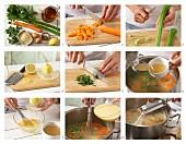 Reissuppe mit Karotten und Staudensellerie (Griechenland) zubereiten