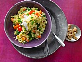 An Indian rice and vegetabe dish with cashew nuts