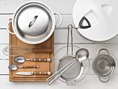 Kitchen utensils for preparing vegetable salad wth rice