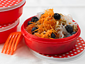 Grated carrot salad with blueberries