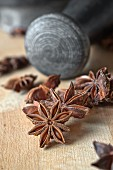 Star anise and a pestle