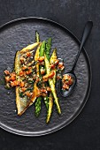 Bass with tomato & herb sauce and green asparagus