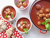 Tomato soup with meatballs