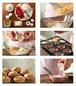Vollkorn-Muffins mit Ingwer, Vanillesahne und Himbeeren zubereiten