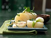 Harzer Käse (sour milk cheese) with spring onions