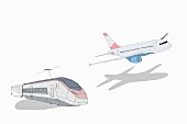 An illustration of a train and an aeroplane