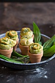 Wild garlic pastries in flowerpots
