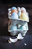 Colorfully Dyed Easter Eggs in Egg Carton
