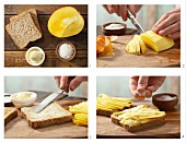 How to prepare mango toast with dessicated coconut