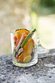 Vegetable crisps in glass