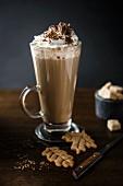 Mocha coffee: coffee with chocolate and cream