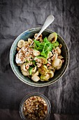 Vegan orechiette with brussels sprouts
