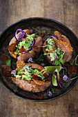Stuffed sweet potatoes with veganem tempeh bacon