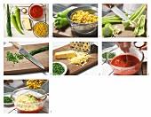 Paprika-Mais-Dip mit Käse und Schnittlauch zubereiten
