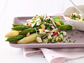 Asparagus with egg vinaigrette and potatoes