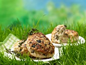Minced turkey steaks filled with sheep's cheese