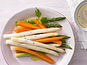 Marinated asparagus with carrots