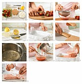 Erdbeer-Frischkäseschnitten mit Löffelbiskuits zubereiten