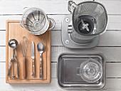 Assorted kitchen utensils for preparing sorbet