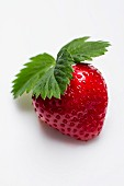 A strawberry with a leaf on a white surface