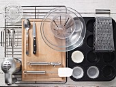 Kitchen utensils for preparing carrot and almond muffins