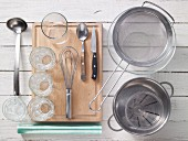 Assortedkitchen utensils for preparing jelly dishes