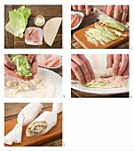 How to prepare a wrap with ham, cream cheese, pineapple and lettuce