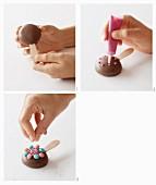 Schokoladen-Marshmallow-Kuchenlollies zubereiten