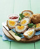 Scotch eggs with a dip