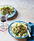 Tagliatelle with pesto and peas