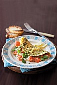 Omelette with salmon and watercress