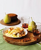 Caramelised Camembert with sherry and pears