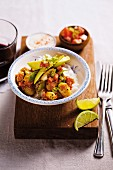 Butter bean chili with avocado and salsa