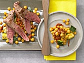 Saffron chickpeas with lamb and courgette