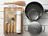 Kitchen utensils for preparing chickpeas with lamb and courgette