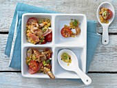 Turkey salad with grapefruit, lentils and tomato