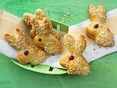 Sweet yeast bunnies with chopped almonds