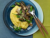Pan-fried oyster mushrooms with polenta
