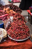 Red chillies at a street market in downtown Yangon (Rangoon), Myanmar (Burma), Asia