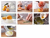 How to prepare grapefruit and and orange salad with rosemary quark and maple syrup