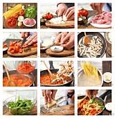 Spaghetti mit Tomatensauce und Putenbruststreifen zubereiten