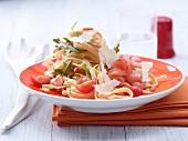 Tagliatelle with marinated salmon, pine nuts and Pecorino