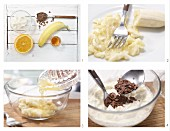 How to prepare cream cheese and banana cream with chocolate flakes
