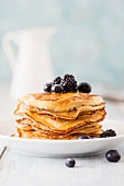 Gluten-free pancakes with blueberries and blackberries